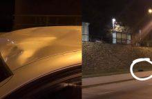 Nuo Aleksoto tilto numetus padangą apgadintas automobilis