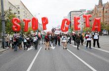 Vilniuje – protestas prieš prekybos sutartį su Kanada