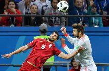 Ispanijos futbolininkai nelengvai nugalėjo iraniečius