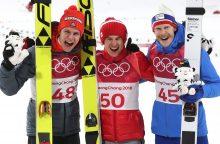 Lenkas K. Stochas trečią kartą tapo olimpiniu šuolių nuo tramplyno čempionu