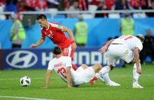 Pasaulio čempionatas: Šveicarija paskutinę minutę išplėšė pergalę prieš Serbiją